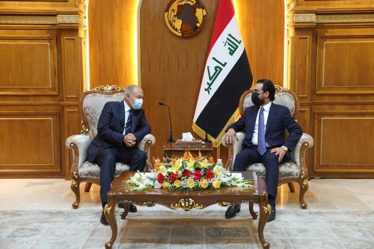 رئيس  مجلس النواب محمد الحلبوسي يستقبل الأمين العام للجامعة العربية السيد أحمد أبو الغيط والوفد المرافق له.